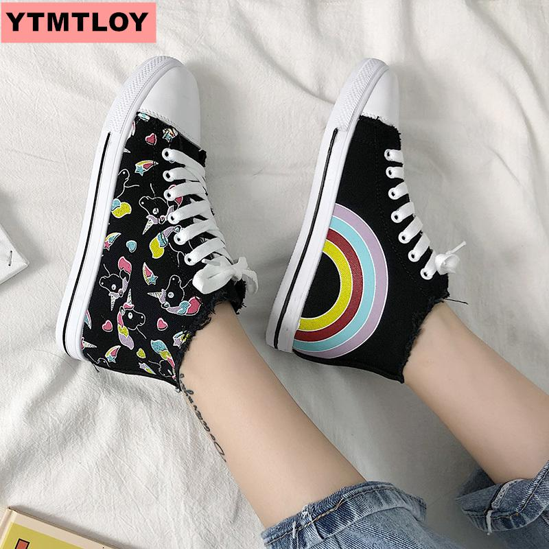 High Quality Classic Women's Canvas Shoes 2018 New Autumn High-top Flat Shoes Women's Vulcanized Shoes Factory Direct Women's Casual Shoes