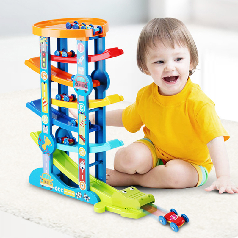 Wooden 7-Layer Ramp Race Track & 6 Mini Inertia Car Sliding Toys Ramp Racer Educational Vehicle Car Toys For Children Gifts