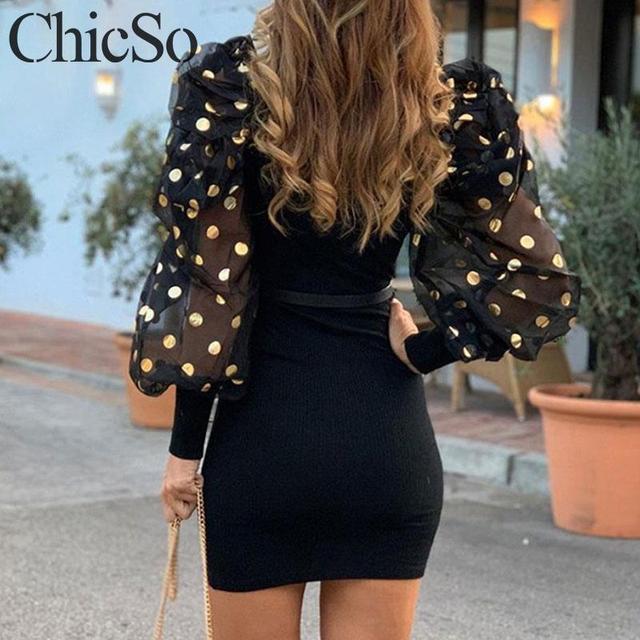 MissyChilli Long sleeve transparent sequin black dress women elegant bodycon sexy mesh dress spring party club night dress festa