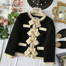 Elegant Small Fragrant Coat Women Temperament Butterfly Knot Rhinestone Drill Suit Ladies Jacket Jaqueta Feminina