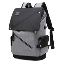 ABZC Enlarge Backpack USB External Charge 15.6 Inch Laptop Backpack Shoulders Men Anti theft Waterproof Travel Backpack Gray