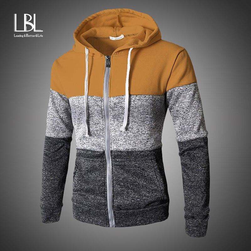 Mens Zipper Patchwork Sweatshirts Warm Hoodies 2019 Autumn Winter Casual Slim Fit Sweatshirts & Hoodies Top Men's Zipper Coats