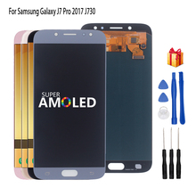 AMOLED 삼성 갤럭시 J7 프로 LCD J7 2017 J730 J730F LCD 디스플레이 디지타이저 어셈블리 교체 부품