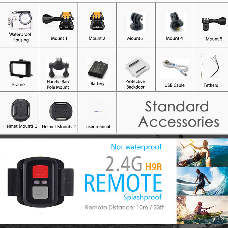 """Image 5 - EKEN H9R / H9 Action Camera Ultra HD 4K / 30fps WiFi 2.0"""" 170D Underwater Waterproof Helmet Video Recording Cameras Sport Cam-in Sports & Action Video Camera from Consumer Electronics"""