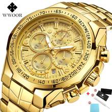 relojes hombre 2020 WWOOR Luxury Brand Mens Watches Gold Big Dial Chron