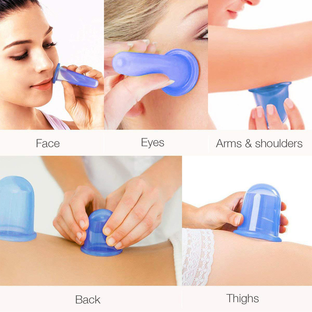 Silicone Vacuum Cup Set Suction Cups Massage Facial Massage Jars Massage Body Cups Vacuum Cans for Facial Massager 3