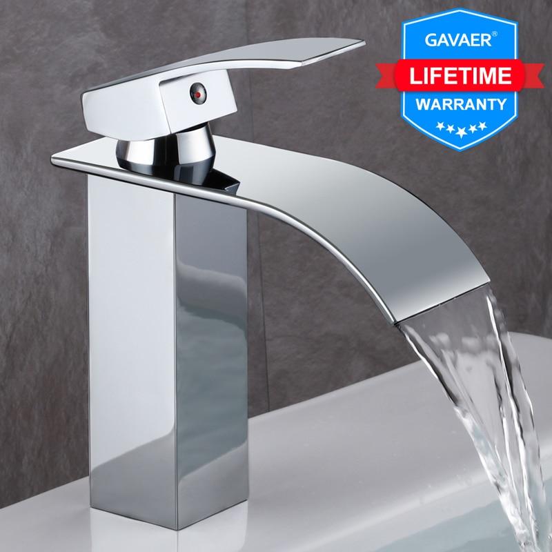 Gavaer Cold and hot bathtub faucet for bathroom washbasin High-grade brass Single handle Basin Faucets bathroom elegant Taps E01(China)