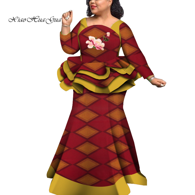 2020 Africa Style Bazin Riche Dresses For Women Two Pieces Set Women Long Sleeve Tops And Print Mermaid Skirt Plus Size WY5992