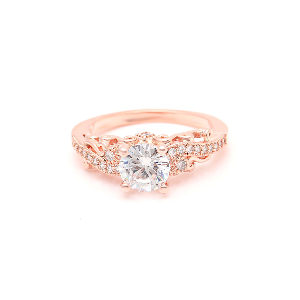 14K Rose Gold VVS1 Diamond Ring For Women Anillos De Bizuteria Bague Etoile Pure Gemstone 14K Rose Gold 2 Carat Diamond Ring Box