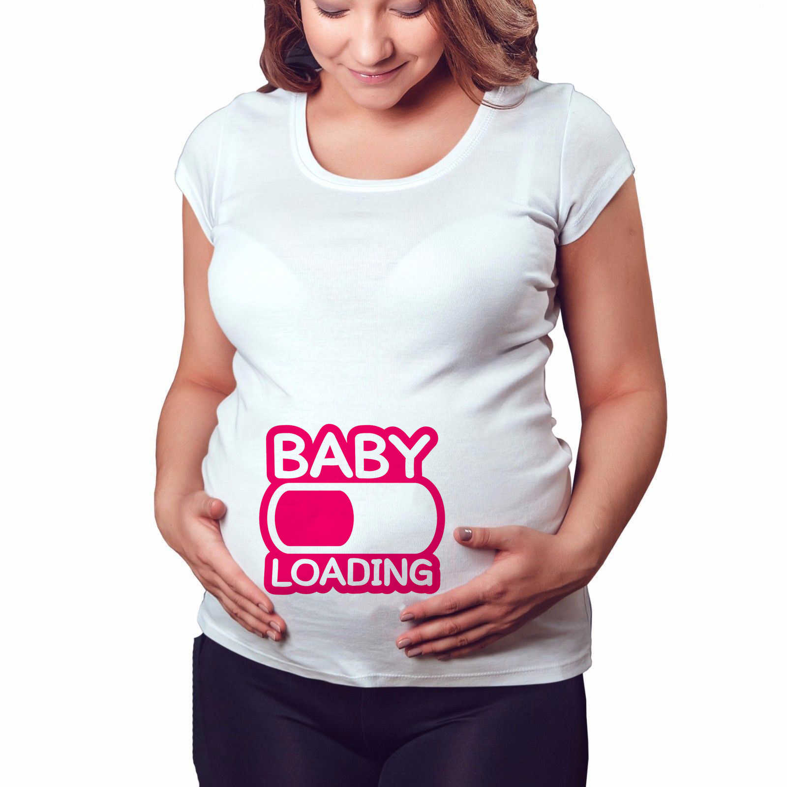 2020 nova marca das mulheres roupas de gravidez do bebê agora carregamento por favor espere maternidade t camisa verão manga curta camisetas grávidas