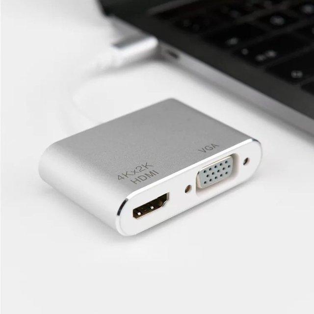 USB3.1 type-c vers Hdmi femelle + VGA câble de Conversion de fréquence femelle adaptateur décran divisé noyau de cuivre en alliage daluminium