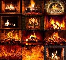 Mehofond fotografia tło zima kominek drewno ogień płomień Exuberant cegła wystrój na święta bożego narodzenia zdjęcie tła Studio