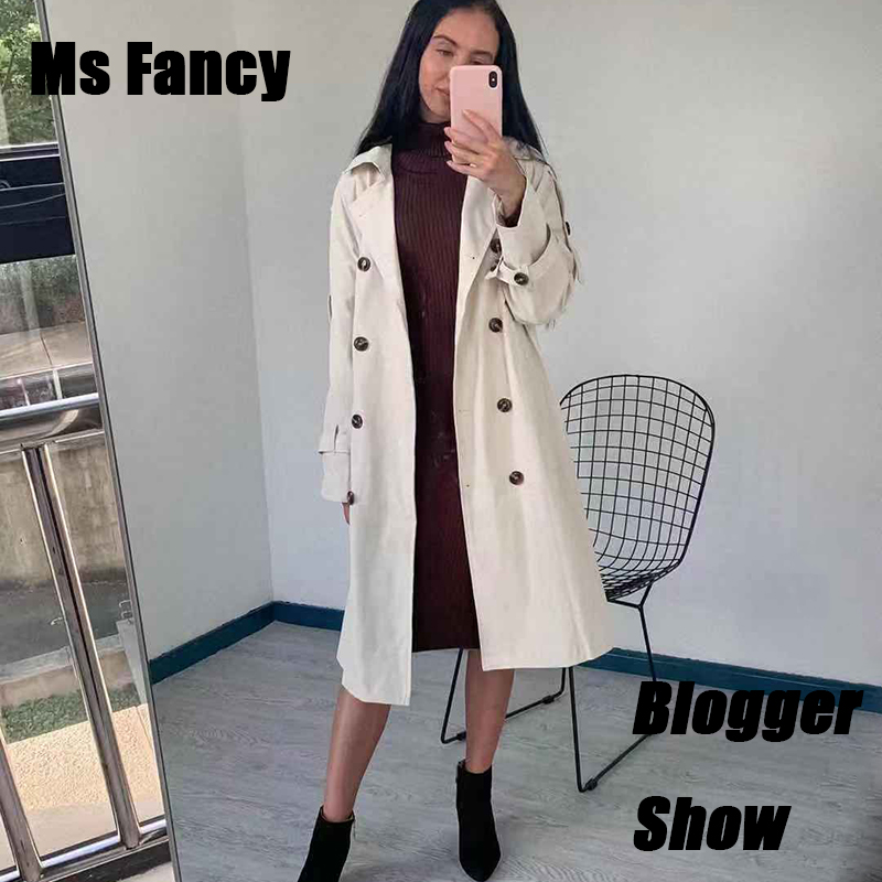 2019 Autumn Women Beige   Trench   Coat Double-breasted Girls Waist Lace-up Long Loose Coat