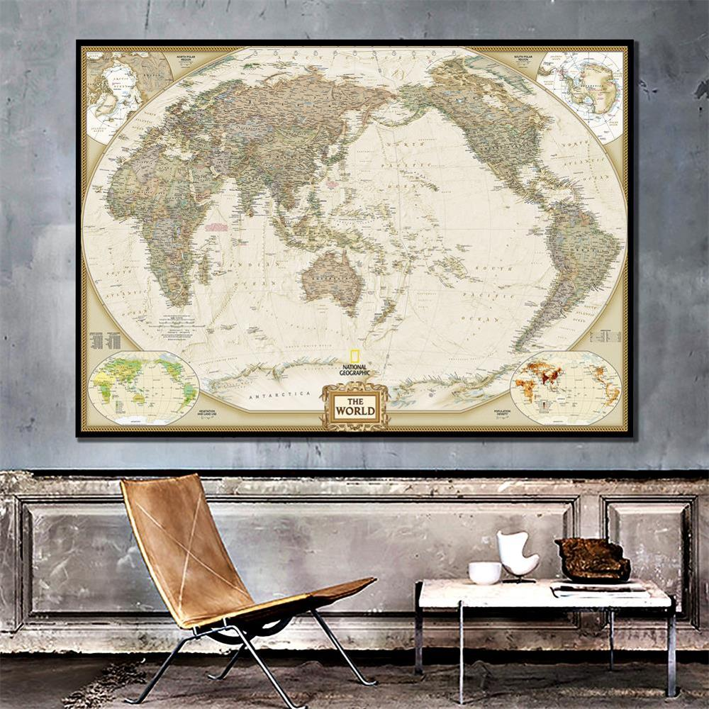The World Physical Map 150x100cm Waterproof Vinyl Spray Wall Map For Home Crafts Office Wall Decoration