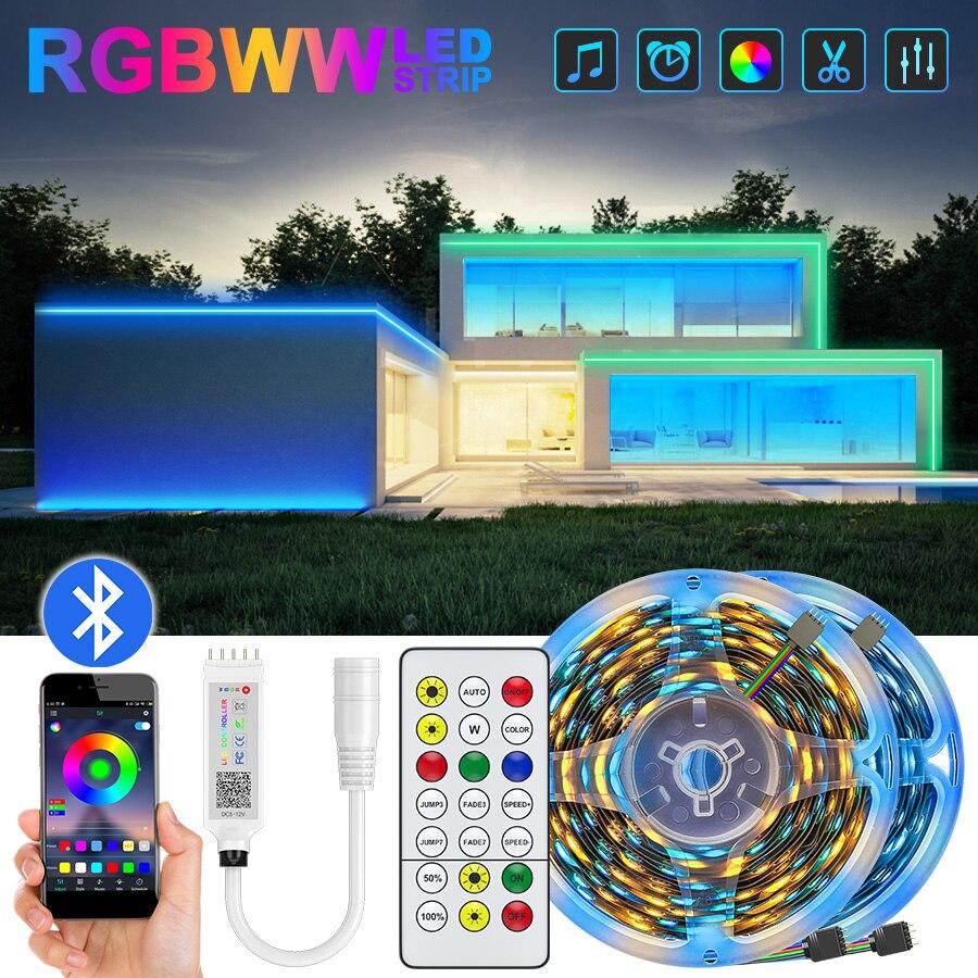 Luzes de tira conduzidas bluetooth 2835 rgbww 5m 10m 15m led fita flexível luz led decoração da sala de fita com adaptador dc12v conjunto