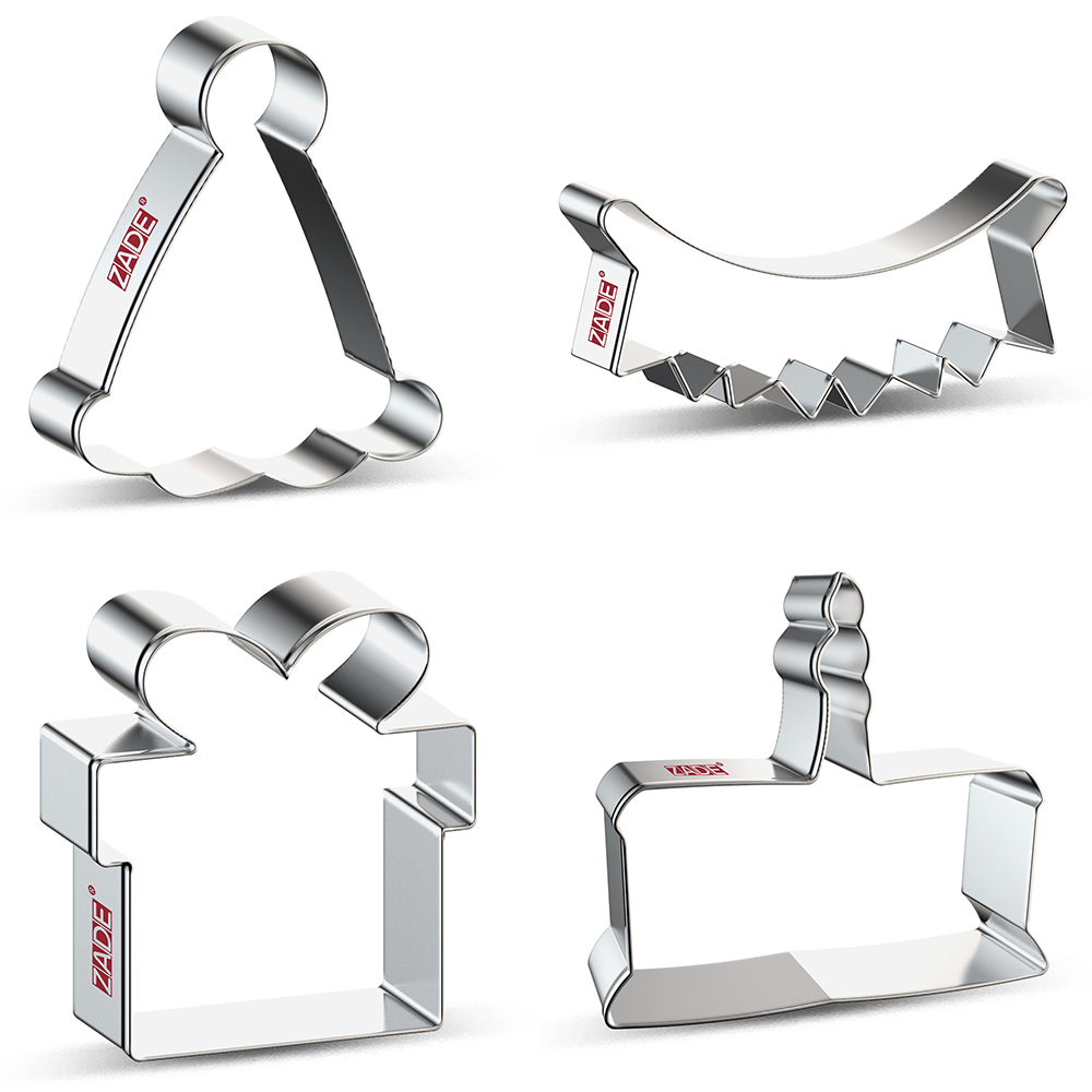 ZADE Birthday Party Cake Cookie Cutter  Biscuit / Fondant / Pastry Cutter - Stainless Steel