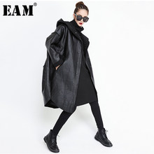 [EAM] Loose Fit Hooded Black Pu Leather Thick Oversize Jacket New Long Sleeve Women Coat Fashion Tide Autumn Winter 2019 JG637(China)