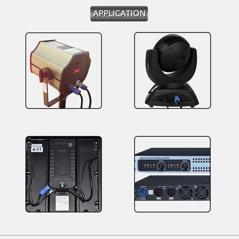Entrada/Salida impermeable PowerCON tipo A NAC3FCA + NAC3MPA-1 chasis enchufe Panel Adaptador 3 Pin Powercon Conector de altavoz azul y blanco