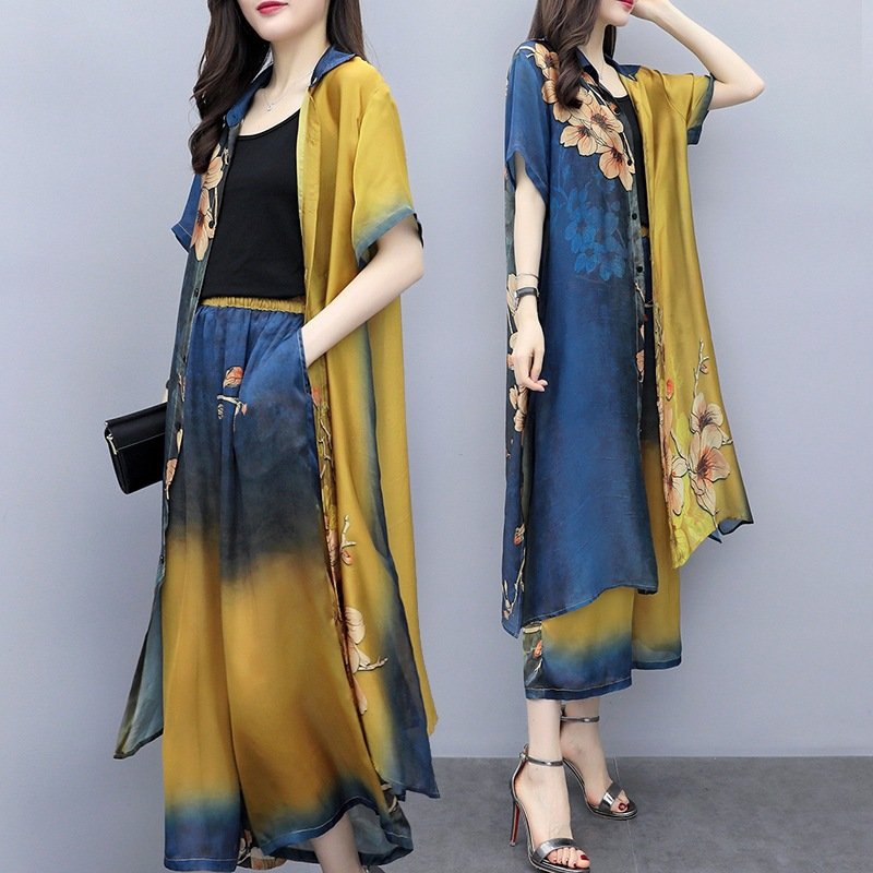 Mr nut 2019 summer new women 39 s yellow and blue print two piece wide leg pants suit female large size casual fashion suit in Women 39 s Sets from Women 39 s Clothing