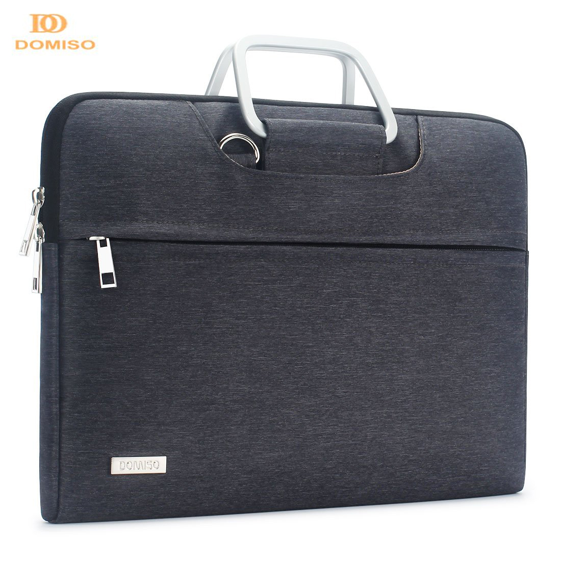DOMISO Water Resistant Laptop Bag With Aluminum Handle Shoulder Strap Sleeve Carry Case 13 14 15.6 17.3 Inches Brown Grey
