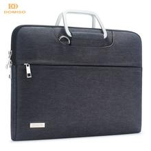 DOMISO Waterbestendig Laptop Tas Met Aluminium Handvat Schouderriem Sleeve Carry Case 13 14 15.6 17.3 Inches Bruin Grijs