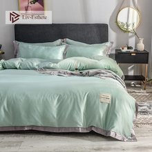 Liv-Esthete Luxury 100% Silk Green Bedding Set Love Home Silky Duvet Cover Flat Sheet Bed Linen Double Queen King For Adult