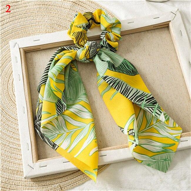 Элегантные резинки для волос с большим цветком и леопардовым принтом; эластичные резинки для волос для женщин и девочек; завязанные длинные резинки; шарф; аксессуары для волос - Цвет: A2