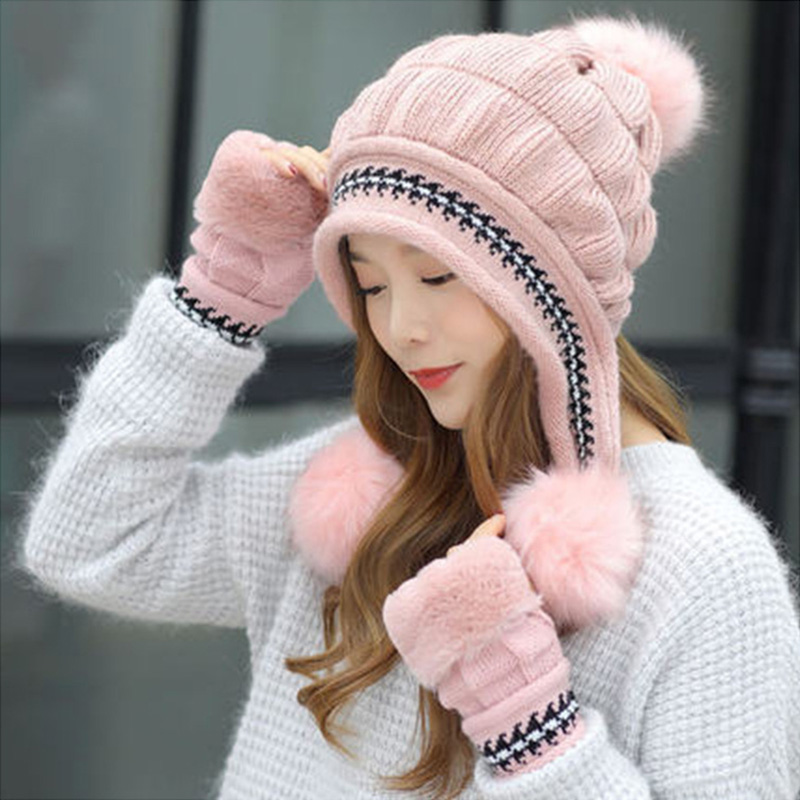 Fashion Women Knitted Hat Gloves Set Xmas Warming Beanie Hat Full Cover Glove Kit For Winter JL