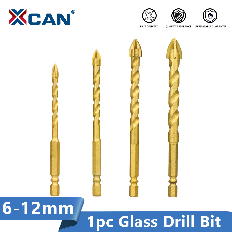 XCAN Hex Shank Glass Drill Bit 6/8/10/12mm Spiral Flute Hole Cutter For Tile Glass Cross Spear Head Drilling Tools