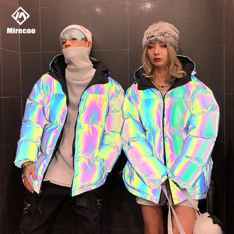 Reversible Men Clothes Commander Jacket Men Rainbow Reflective Jackets Men Parka Coat Fashion Hip Hop  Jacket Streetwear Outwear