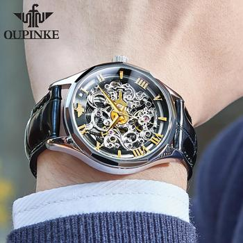 New Men's Watches OUPINKE Top Brand Leather Chronograph Waterproof Sport Automatic Date mechanical wristwatch Watch For Men's 2