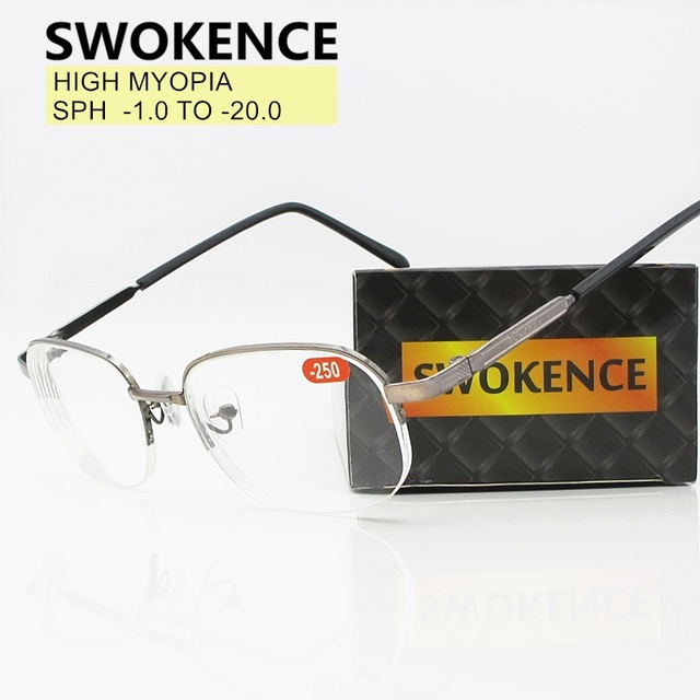 1.0 To  11  12  13  14  15  16 17  18  19  20 High Diopter Myopia Glasses Men Women Prescription Spectacles Nearsighted F155