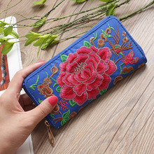 Ethnic style embroidered printed wallet New ladies handbag rose card wallet coin purse yunnan folk style floral embroidered medium size handbag ethnic hilltribe tote vintage shoulder bag peony coin butterfly