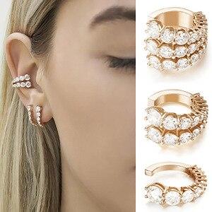 Vintage punk cristal geometria orelha clipe manguito envoltório brincos para mulher não perfurado clip em prata cor brincos femininos jóias gifs