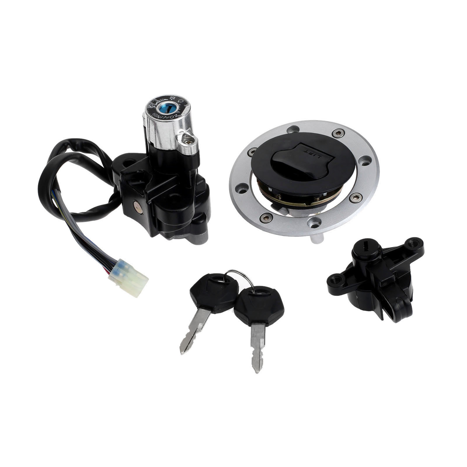 Motorcycle Ignition Switch Lock Fuel Gas Cap Cover Key Set For Suzuki GSF600 GSF1200 Bandit 1995-2005 Scooter Moped Lockset