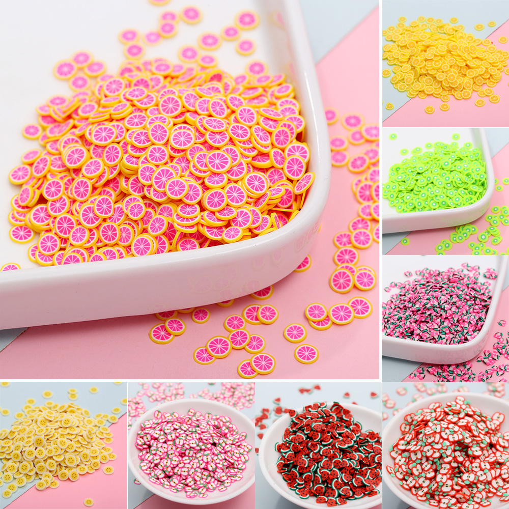 50g Fimo Polymer Clay Fruit Slice Hot Clay Sprinkles For Crafts DIY Nail Art Decoration Slime Material Accessories Cake Particle