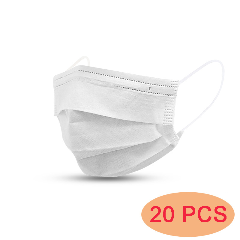 20 PCS Facial Mask Face Mouth Mask Disposable 3 Layers Health Care White Protective Masks Fast Shipping
