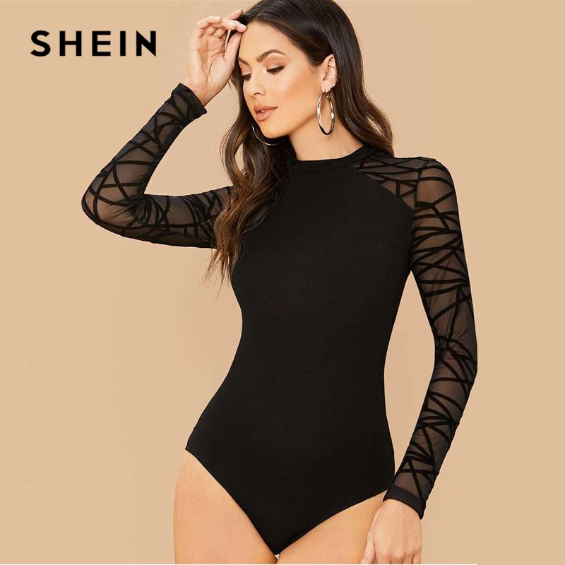 SHEIN Black Geometric Print Contrast Mesh Elegant Bodysuit Women Spring Long Sleeve Fitted Office Ladies Basic Skinny Bodysuits