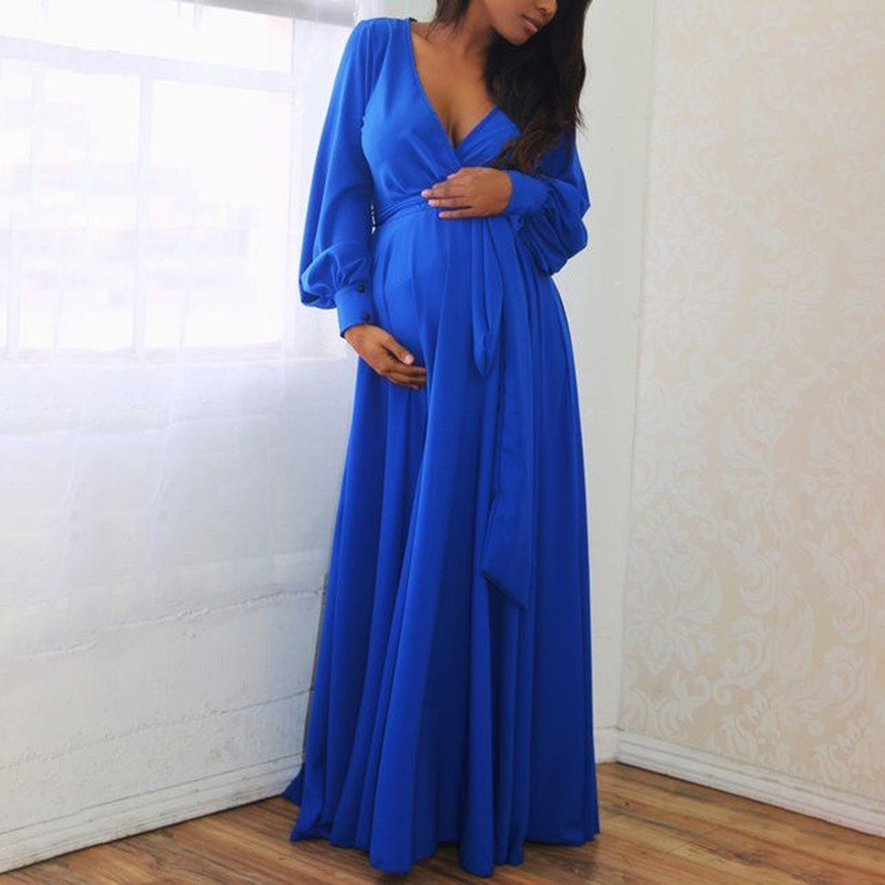 Maternity Dresses For Photo Shoot Pregnancy Dress Vestidos Pregnant Maternity Dress Vestido Embarazada 2019 Long Sleeve Solid Z4