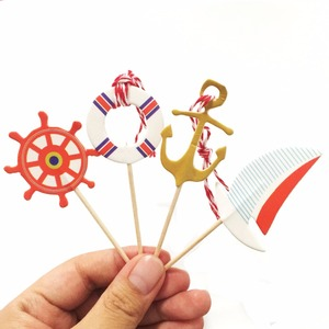 Image 2 - Cupcake Decoraties 24Pcs Mediterrane Sailor Schip Anker Cake Topper Cupcake Picks Vlaggen Voor Kids Kinderen Birthday Party
