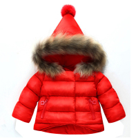 Baby girl clothes winter down jacket baby girl pointed hat real fur collar down jacket baby warm down jacket hooded jacket