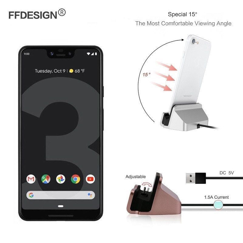 for <font><b>Google</b></font> <font><b>Pixel</b></font> <font><b>3A</b></font> XL 3 2 XL 2XL 3XL <font><b>Charger</b></font> Charging Dock Station Base Cradle Stand Sync Android USB Type C IOS image
