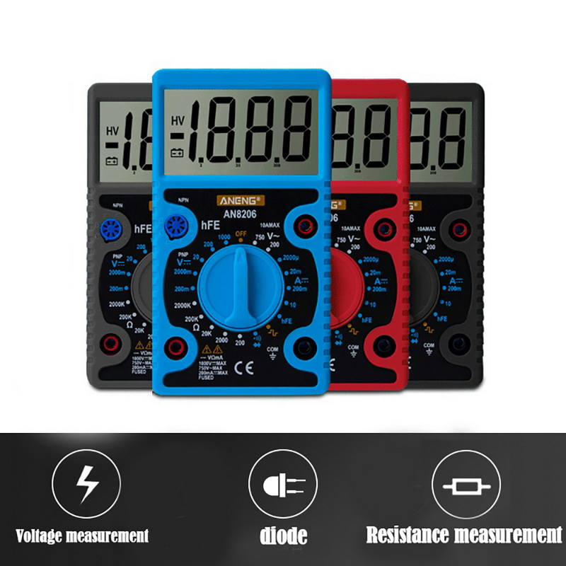 Junejour Digital Multimeter Tester LCD Display Volt Meter  Electrician High Precision Big Screen Portable Voltage Tester
