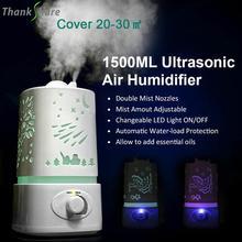 THANKSHARE 1500 ml Aroma nemlendirici difüzör ultrasonik hava uçucu yağ Humidificador 7 renk LED Aroma Diffusor aromaterapi