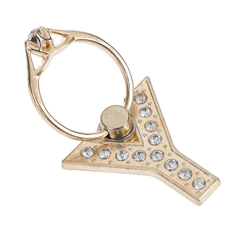 1pc 360 graus de diamante metal carta A-Z dedo anel titular suporte do telefone móvel para o iphone 6s 7 8