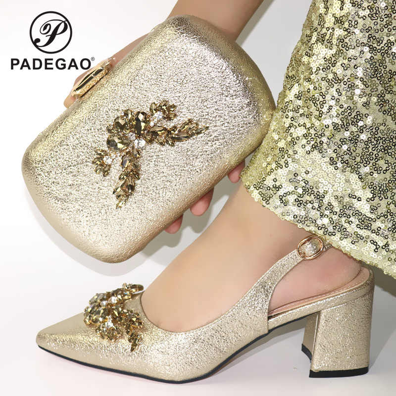 2020 Mature New Coming Cofortable Shoes And Bag To Match Set Italian High Heels Party Shoes And Bag Set For Wedding