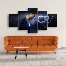 Canvas Wall Art Modular Picture Frame Painting 5 Pieces Sports CR7 Cristiano Ronaldo HD Printed Boys Room Home Decoration Poster