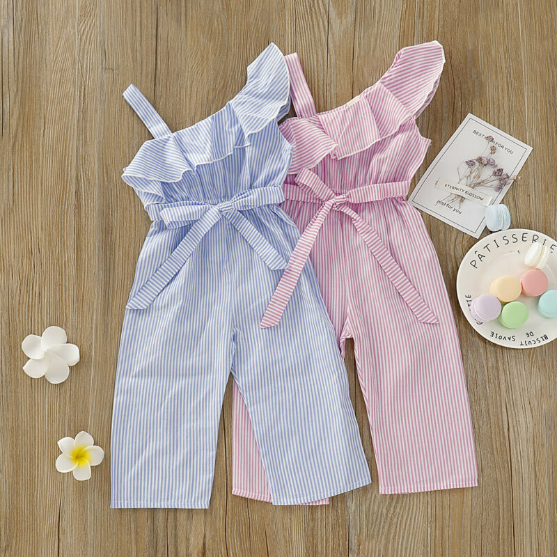 Pudcoco Toddler Baby Girl Clothes Off Shoulder Ruffle Cotton Striped Romper Jumpsuit One-piece Outfit Playsuit 2020 Summer New