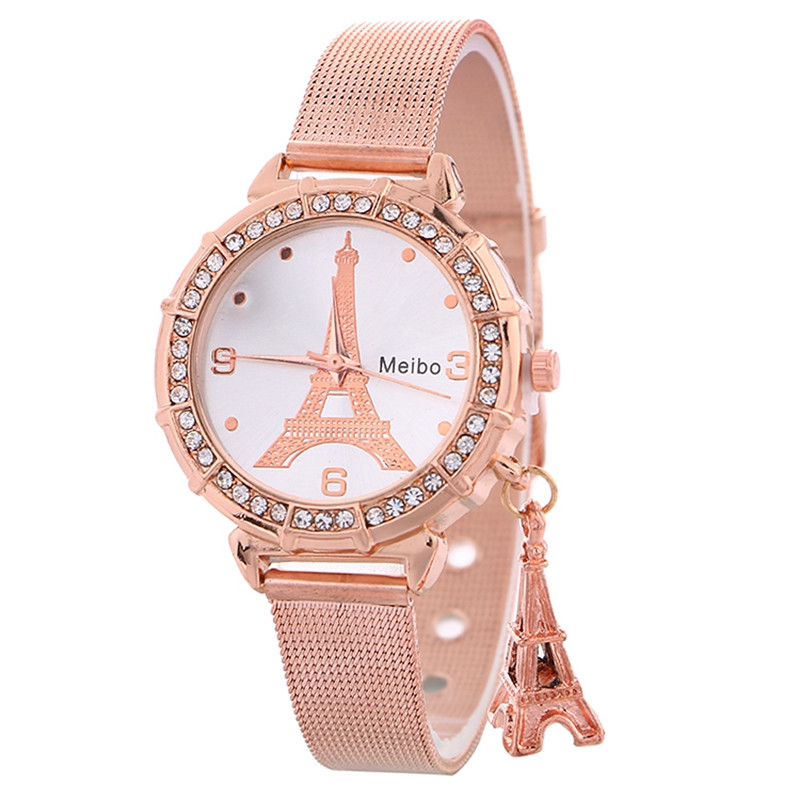 New Arrival Fashion Rose Gold Mesh Belt From France Eiffel Tower Ladies Watch Stainless Steel Tower Pendant Watches