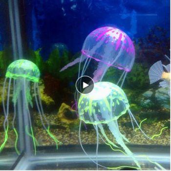 Sztuczna meduza ozdoba do akwarium dekoracja akwarium Decor świecące efekt artykuły dla ryb zwierząt wodnych akcesoria domowe tanie i dobre opinie CN (pochodzenie) Decorations Ryby-ozdoby Silicone 5*15cm 1 x Artificial Jellyfish Drop shipping wholesale